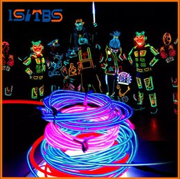Costumes De Danse Néon Pas Cher-3M Flexible Neon Light Glow EL Câble de fil métallique Flexible Neon Light 8 couleurs Car Dance Party Costume + Controller Christmas Holiday Decor Light