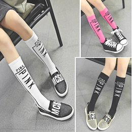 Chaussettes Rayures Sport Pas Cher-Baby Girl ROSE Chaussettes Chaussettes à genoux Sport Lettre Love Chaussettes Rose Enfant Harajuku Skateboard Chaussettes Kids Football Stripes Long Leg Warmer