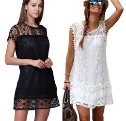 Xxl Robe Sexy Noire Pas Cher-2016 2017 Noir Blanc Sexy Womens Summer Sleeveless Soirée Cocktail Dentelle Short Mini Dress S-2XL