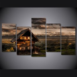 $enCountryForm.capitalKeyWord NZ - 5 Pcs Set Framed Printed Evening hills wooden house Painting on canvas room decoration print poster picture canvas Free shipping ny-5018