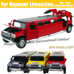 jeep diecast model cars Canada - 1:32 Scale Alloy Metal Diecast Car Model For Hummer Limousine Luxury Truck Collection Model Pull Back Toys Car With Sound&Light