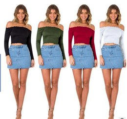 Barato Off Ombro Long Tops-2017 novo Mulheres Sexy Crop Tops Slash Neck manga comprida Off Shoulder Tops mulheres tees pure color club T-shirts blusas Malhas