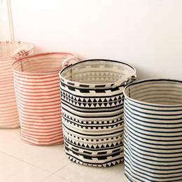 Washing Linen Clothes Canada - cotton linen barrel geometric style Folding Dirty Clothes Washing Laundry Hamper Basket Novelty Sorter Bag Storage box Home Decor