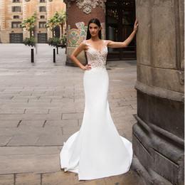 See Through Wedding Dress Crystal Beading Canada - Sheer V-neck Embroider Lace Top White Satin Mermaid Wedding Dress Open Back See Through Bridal Dress vestidos noiva