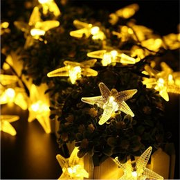 starfish lighting 2020 - 20LED Christmas Starfish Shaped Waterproof String Lights Solar Powered LED for Decorative Outdoor Lighting Q0057