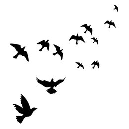 Large Track Canada - Stylish Waterproof Flying Birds Picture Wall Poster Background Wall Sticker E5M1 order<$18no track