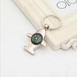 Airplane Figure Canada - Funny Creative Alloy Metal Compass Airplane Keyfob Gift Car Keyring Chain Ring Keyring Keychain Keyfob DIY Gift Fashion
