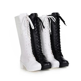 easter cosplay UK - Long Boots Autumn And Winter Cosplay Female Boots Front Lace-Up Knee-High Fashion Female Martin Boots 2Color