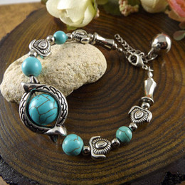 Green Day Charm Bracelet Canada - wholesale free shipping Turquoise bracelets fashion jewelry green turquoise eye beads charm bracelets retro bracelet silver plated TB0003