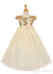 Hand Girl White Rose NZ - 2019 Sequins Girls Pageant Dresses Rose God Cap Sleeve Ball Gown Princess Cheap Flower Girls Gowns Wedding Party Wear Dress For Child Teens