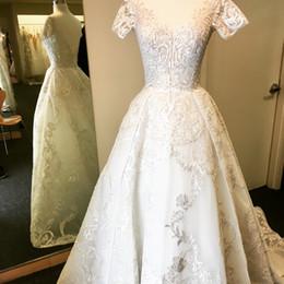 $enCountryForm.capitalKeyWord Australia - Vintage Lace Appliques Plus Size Wedding Dresses Cap Sleeves Bridal Gowns With Overskirt Beads V Neck Beach Wedding Dress