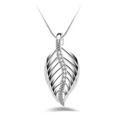Discount 925 silver austria crystal - 925 Sterling Silver Wedding Necklace Jewelry Real Austria Crystal Sweet Leaf Clover Pendant Necklace Jewelry For Women E