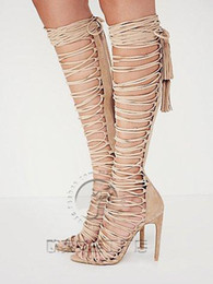 over knee gladiator sandal 2020 - Sexy Thigh HIgh Boots Over Knee Strappy Cutouts High Heels Women Sandals Gladiator Shoes Woman Lace Up Summer women Shoe