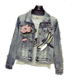 Vestes De Sequin En Gros Pas Cher-Vente en gros-2017 nouvelle libellule paillettes denim veste, lady printemps paillettes rue denim casual vêtements de plein air