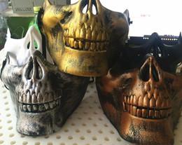 Skull half face paintball maSk online shopping - New CS Mask Carnival Gift Scary Skull Skeleton Paintball Lower Half Face facemask warriors Protective Mask For Halloween Party Masks