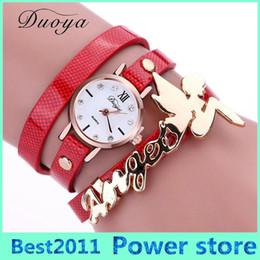 Discount girls electronics - Duoya New Brand Angel Girl Luxury Fashion Gold Women Bracelet Watch Dress Lady PU Leather Electronic Quartz Wristwatch X