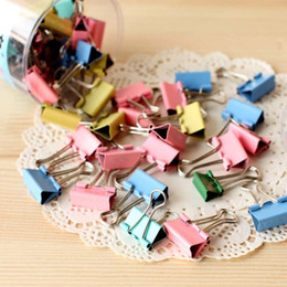 metal binder clips 2019 - 120pcs lot 15mm Colorful Metal Binder Clips Paper Clip Office Stationery Binding Supplies