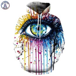Barato Roupas De Noite Elegantes Para Mulheres-Paint Fashion Stylish Men / Women Hooded Hoodies 3d Print Paint Eyes Thin Sweatshirts Tracksuits Pullovers