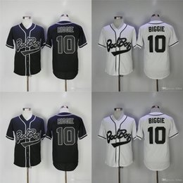 Barato Bad Boy Jersey-Men's Bad Boy Movie Baseball Jerseys 10 Biggie Throwback Authentic Stitched High Quality Free Shipping Jerseys de beisebol