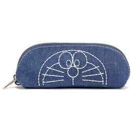 b372ecf00371c Cute Student Staples Pencil Pouch Candy Color Doraemon Denim Canvas Croper  Zippered Pencil Bag Case Cosmetics Make-Up Storage Bags Organizer