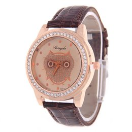 geneva watch leather band UK - Fashion Geneva Watch for Woman Band Leather Owl Dial Crystal Casual Sport Watches for Womens Analog Quartz Dress Watch