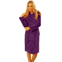 Barato Roupões De Inverno Para As Mulheres-Venda por atacado- Roupões de noite para mulheres Robes Long Coral Fleece Night-robe Roupa de dormir Winter Warm Bathrobe Woman Clothing