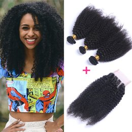Afro Kinky Human Hair Virgin NZ - 4*4 Three Part Lace Closure With Bundles Mongolian Afro Kinky Curly Human Virgin Hair 3 Bundles Kinky Curly Human Hair Weaves With Closure
