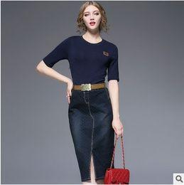 $enCountryForm.capitalKeyWord Canada - 2016 new women's clothing, fashion, warm sweater stitching denim skirt, slim sexy skirt. High waisted dress. Casual, knitted fabric.