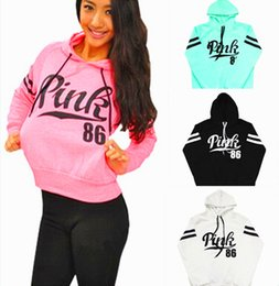 Manteaux À Manches Longues Pas Cher-Women Pink Letter Hoodie VS Pink Pullover Tops Brand Shirt Coat Sweatshirt Long Sleeve Hoodies Casual Sweater Fashion Hooded 2pcs / lot