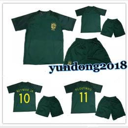 17 18 boy kids world cup soccer jersey kits 3rd green brazil neymar jr home yellow .