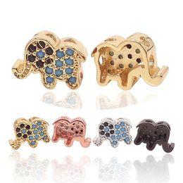 Micro Pave Connectors Australia - Micro Pave Turquorise CZ Elephant Charms, Cubic Zircon Elephant, Elephant Charms, Bracelet Connector, Elephant Jewelry, 4 Colors