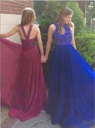 $enCountryForm.capitalKeyWord Canada - Royal Blue Long Prom Dresses 2016 with Colorful Beaded African women Girl Gowns A Line Back hollow Chiffon Formal party Gowns