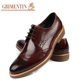 Grimentin Shoes UK - GRIMENTIN Leather Mens oxford shoes Italian fashion designer formal mens dress shoes hot sale genuine leather business wedding male shoes