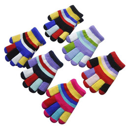 Kids glove striped online shopping - Childrens Magic Gloves Boys Girls Stretchy Kids Gloves Colored Bar Lovely Double Layer High Quality Fashion Random Colors Colors