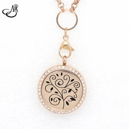 Magnetic Pendant Necklaces NZ - 10pcs 25 30mm Tree Shape Aromatherapy Essential Oils 316L Stainless Steel Magnetic Perfume Diffuser Floating Locket Pendant Necklace MIJ226
