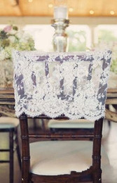 chinese chairs Canada - In Stock 2017 Ivory Lace Chair Covers Vintage Romantic Chair Sashes Beautiful Fashion Wedding Decorations 02
