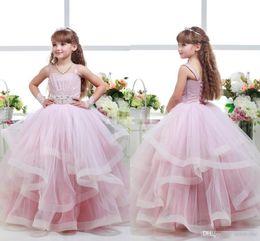 Cheap Tutus For Girls NZ - 2016 Pink Tulle Cheap Beach tutu Ritzee Girl Pageant Ball Gowns Size Teen Flower Girls Dresses For Weddings Birthday Communion Dress Kids