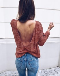 Barato Costas Longas Senhoras Tops-10pcs Ladies Fashion Loose Long Sleeved Open Back Tops Blusa T-Shirt Womens Casual Backless Jumper Shirt Tee