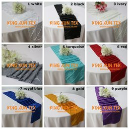 wedding table cloths wholesale Australia - 20pcs Taffeta Pintuck Table Runner Fit On Table Cloth For Wedding And Event Decoration Free Shipping