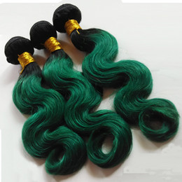 Colorful Human Hair Australia - Fashion Womens Feather European Hair Extension Colorful Hair ombre Machine double weft 1B green Unprocessed Indian human hair 3 4 5Bundles