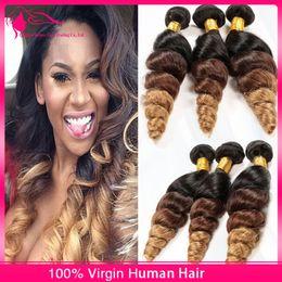 $enCountryForm.capitalKeyWord Canada - New Arrivaling 1B 4 27 Ombre Human Hair Bundles Brazilian Virgin Loose Wave Hair Extensions Loose Curly 3 Tone Hair Weaves