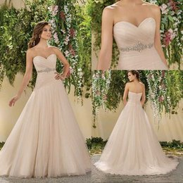 Sweetheart Robe De Mariée Haute Taille Pas Cher-2017 Spring Blush Pink Sweetheart Robes de mariée A Line Soft Tulle Sweep Train Haute taille Crystal Backless Garden Bridal Gowns