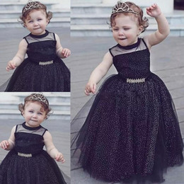 Wholesale Cheap Black Baby Girl Pageant dresses ball gown Sparkly Polka Dot print Flower Girl Dresses For Weddings Children First Communion Dresses