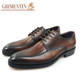 Genuine Leather Black Men Shoes NZ - GRIMENTIN Hot sale brand formal mens dress shoes fashion men oxford shoes genuine leather black brown male wedding shoes for business JM