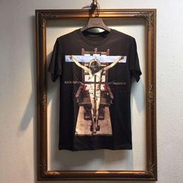 Venta al por mayor de 2016 hombres de la moda de la cruz impresión jesús de manga corta camiseta de los hombres camiseta de los hombres, ropa de algodón de alta calidad
