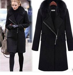 Barato Casaco De Pele De Poliéster-2017 New Winter Women de lã Blend Coat Moda Slim Fur Collar Zipper A-Line Preto Casacos Basic Overcoat Plus Size Wool Long Windbreaker