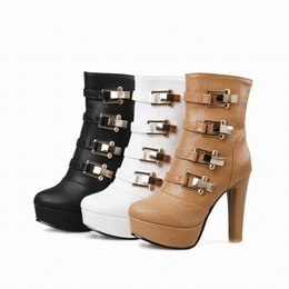 Ladies White Rubber Boots Canada - Free Shipping Womens fashion round toe Half boots buckles chunky high heel platform girls punk soild ladies shoes and boots big sizes 199