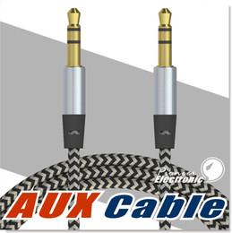 Ingrosso Car Audio AUX cavo di estensione cavo nylon intrecciato 3ft 1m cablato ausiliario jack stereo 3.5mm cavo maschio per Apple e Andrio altoparlante telefono cellulare
