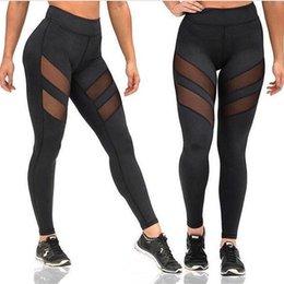 Vente en gros 2017 Four Seasons Nouveau pantalon de yoga de sport de mode Femmes Leggings ajouré point de vue couture sport fitness gym running pantalons sexy Leggings