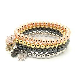 Discount alloy hamsa hand - Wholesale 10pcs lot 6mm Round Bronze Beads with Micro inlay zircon Fatima Hand Hamsa Cz Beads Strech Bracelets